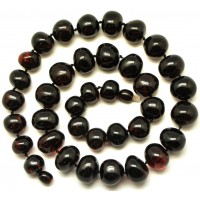 Baroque beads cherry Baltic amber short necklace