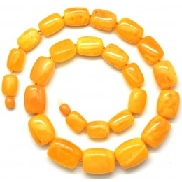 Barrel shape antique Baltic amber necklace 52 g .