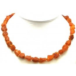 Raw unpolished Baltic amber short necklace