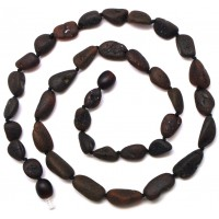 Unpolished Baltic amber beans necklace