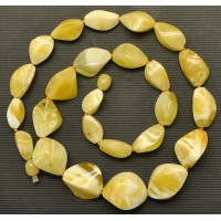 Short yellow - white faceted Baltic amber necklace