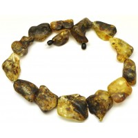 Natural shapes unpolished Baltic amber necklace 103 g .