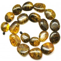 Massive long big beads Baltic amber necklace 144 g .