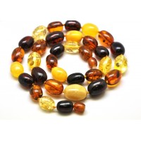 Multicolor Baltic amber olive necklace