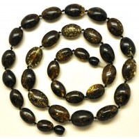 Green Baltic amber olive necklace
