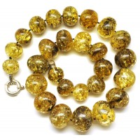 Green baroque beads Baltic amber necklace 116 g.