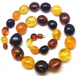 Multicolor amber beads necklace 62g