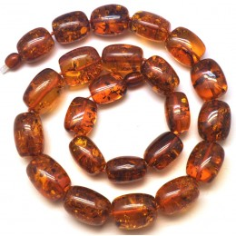 Barrel shape cognac Baltic amber necklace
