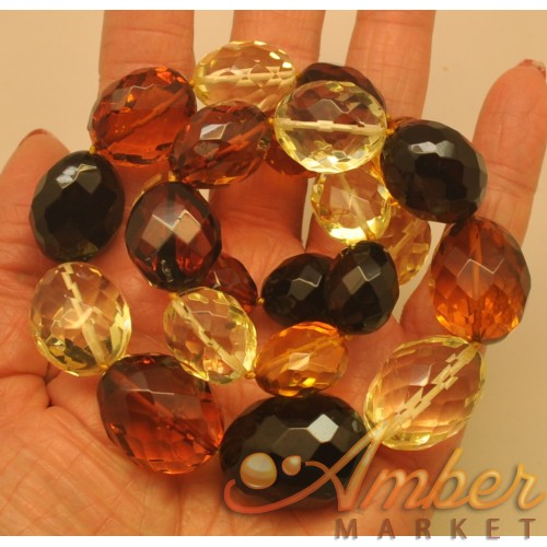 Big beads faceted multicolor amber necklace