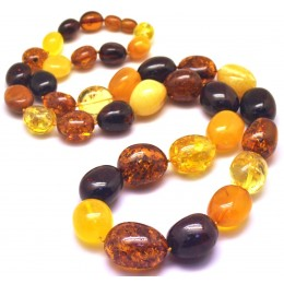 Multicolor long amber beads necklace 82g