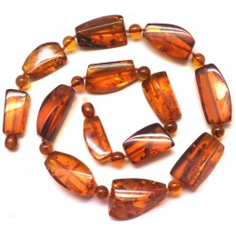 Faceted cognac Baltic amber necklace