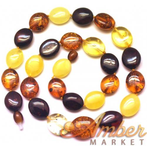 Button shape  Baltic amber short necklace