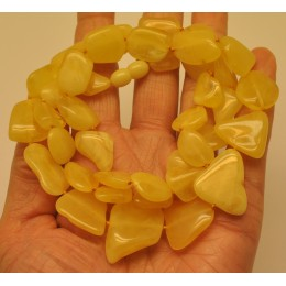 Natural shape amber long necklace