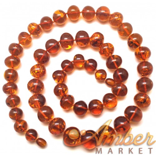 Baroque beads long cognac Baltic amber necklace