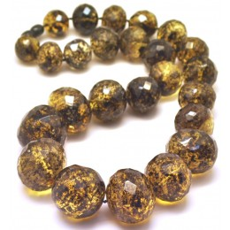 Baroque beads short faceted Baltic amber necklace 115 g.