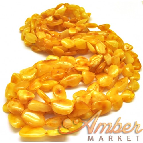 Lot of 5 long yellow Baltic amber beans necklaces