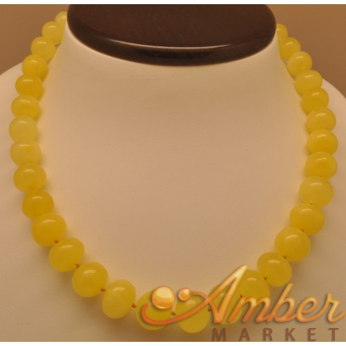 Natural baltic amber yellow matt color baroque beads necklace antique look-a-like round amber jewellery for everyday wear gipsy boho look