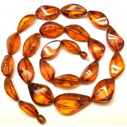 Long faceted cognac Baltic amber necklace