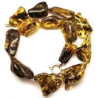 Natural shapes  green Baltic amber necklace 87 g .