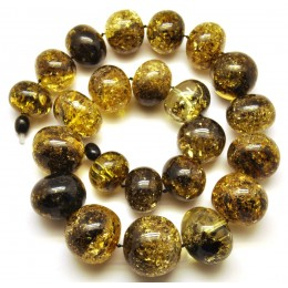 Baroque beads short Baltic amber necklace 130 g.