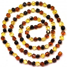 Long faceted  Baltic amber necklace