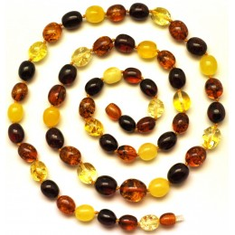 Long multicolor Baltic amber olive necklace