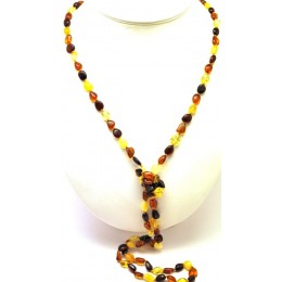 Multicolor beans shape long Baltic amber necklace