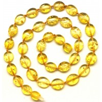 Button shape  lemon Baltic amber short necklace