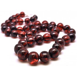 Long cherry baroque beads Baltic amber necklace