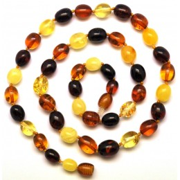 Multicolor short Baltic amber olive necklace