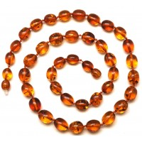 Olive shape cognac  Baltic amber short necklace