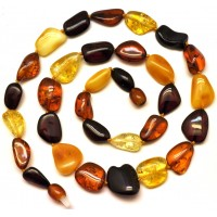 Multicolor beans shape short Baltic amber necklace