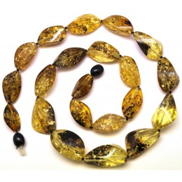 Short faceted green Baltic amber necklace