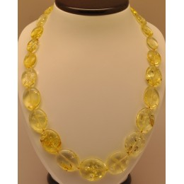 Lemon Baltic amber long necklace