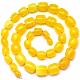 Barrel shape yellow Baltic amber necklace
