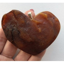 Large raw amber  heart pendant