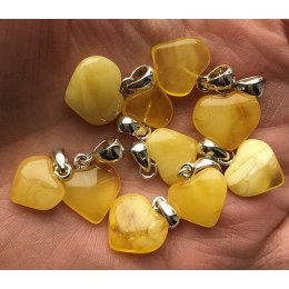 10 Yellow amber heart pendants