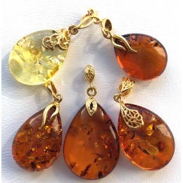 Lot of 5 Genuine BALTIC AMBER drop Pendants