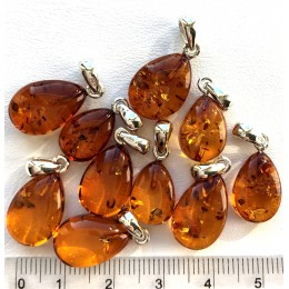 Lot of 10 Glittering Cognac Genuine BALTIC AMBER Silver Pendants