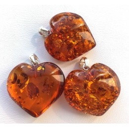 Lot of 3 cognac amber heart pendants