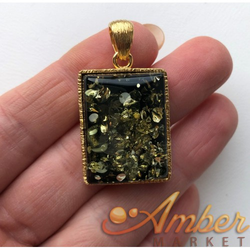 Natural Baltic Amber Pendant in Gold Plated Silver