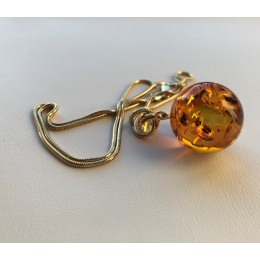 Round bead Amber pendant with chain