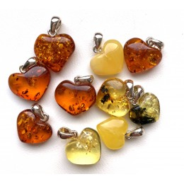 10 Small Baltic Amber Hearts Silver Pendants