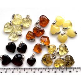 25 Small Baltic Amber Hearts Silver Pendants