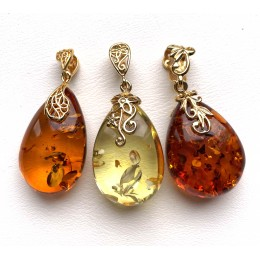3 Genuine BALTIC AMBER Gold Plated Silver Pendants