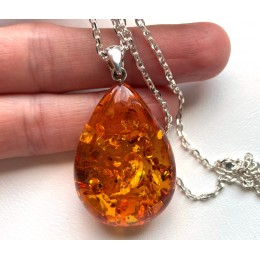 Baltic Amber Drop Pendant 9 g with Long Silver Chain