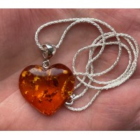 Baltic Amber Heart Pendant 925 Silver with Chain