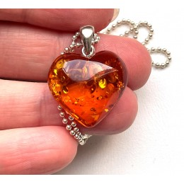 Baltic Amber Heart Pendant With Silver Chain