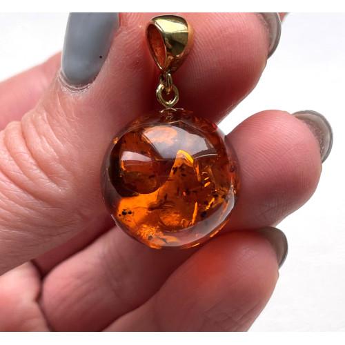 Cognac Amber Round Bead Pendant 20 mm