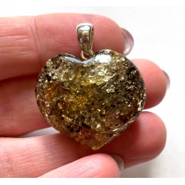 Genuine Baltic Amber Heart Pendant 6 g